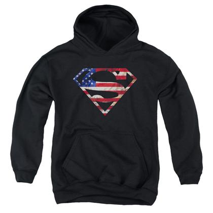 Superman American Flag Logo Youth Hoodie