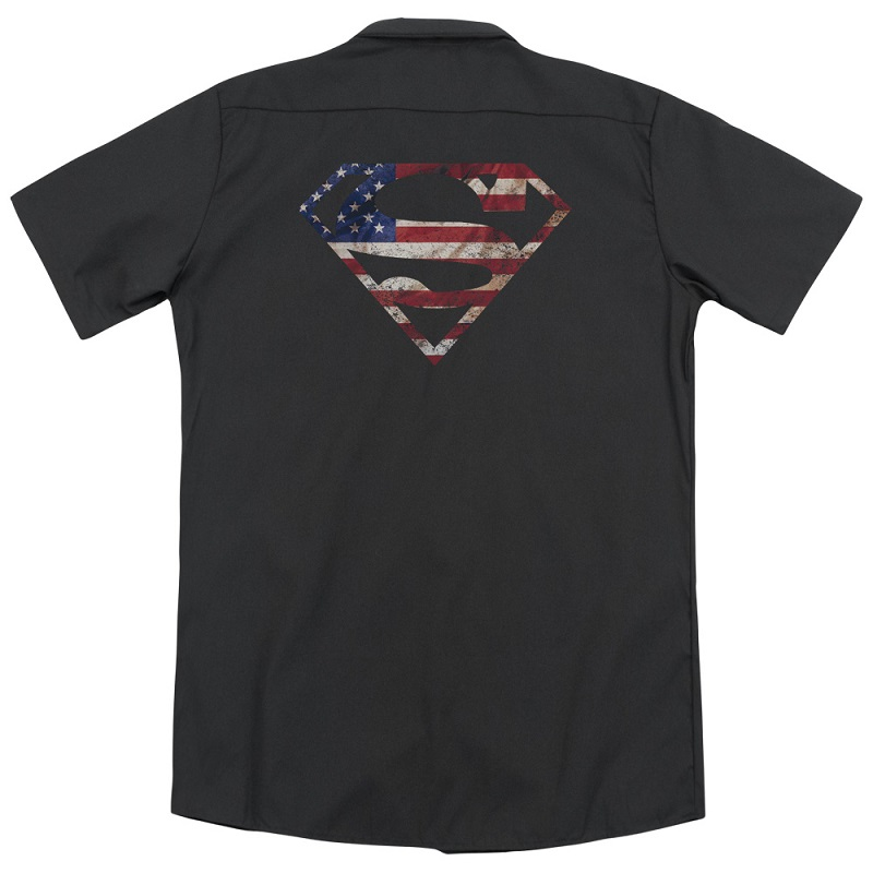 Superman American Flag Logo Work Shirt