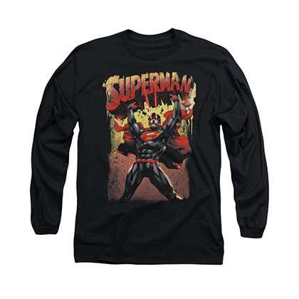 Superman Lift Up Black Long Sleeve T-Shirt