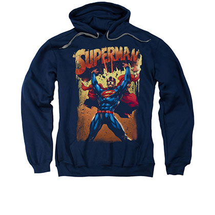 Superman Lift Up Blue Pullover Hoodie