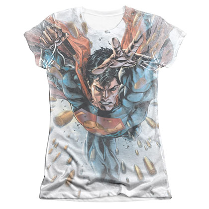 Superman Bullets In Sky Sublimation Juniors T-Shirt