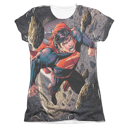 Superman Up Up Sublimation Juniors T-Shirt