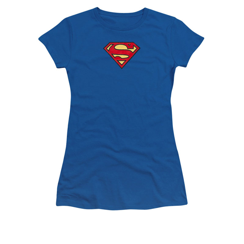 Superman Embroidered Classic Logo Juniors T-Shirt