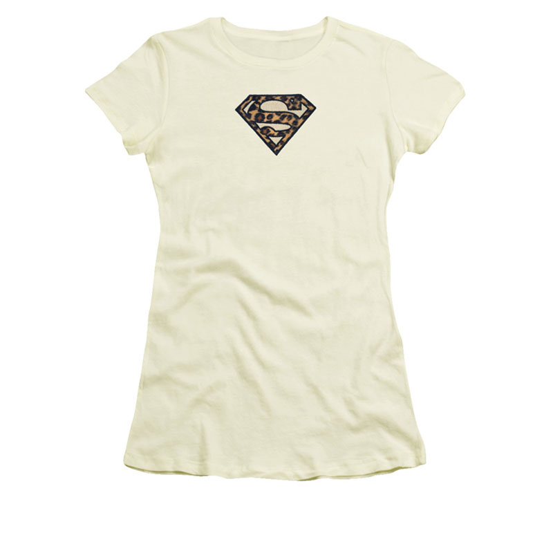 Superman Embroidered Leopard Logo Off White Juniors T-Shirt