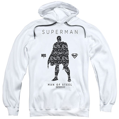 Superman Paisley Silhouette White Pullover Hoodie