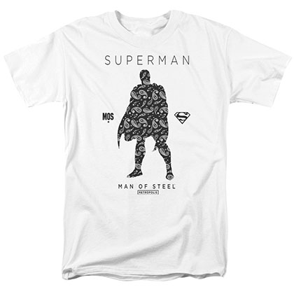 Superman Paisley Silhouette White T-Shirt