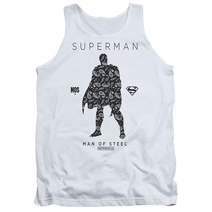 Superman Paisley Silhouette White Tank Top