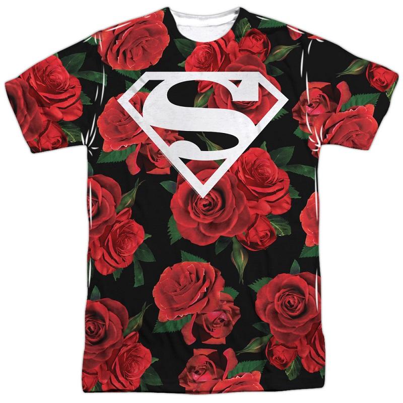 Superman Floral Print Logo Tshirt