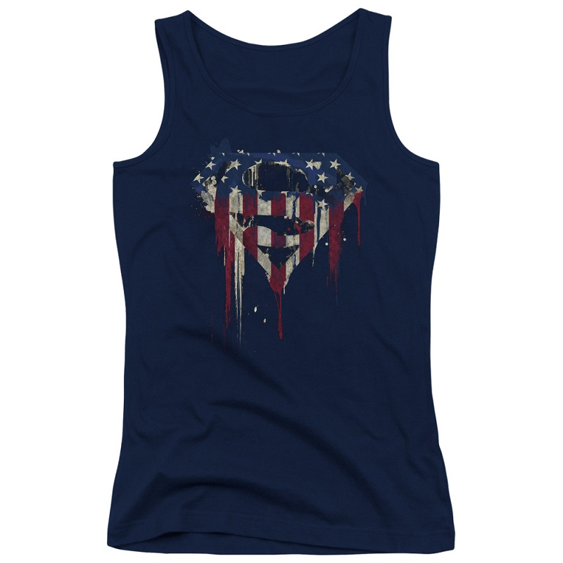 Superman Dripping USA Flag Women's Tank Top