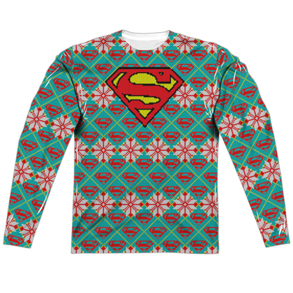 Superman Ugly Christmas Sweater Print Long Sleeve Tee