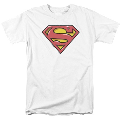 Superman Airbrushed Logo White Tshirt