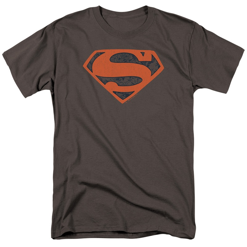 Superman Vintage Shield Grey and Red Tshirt