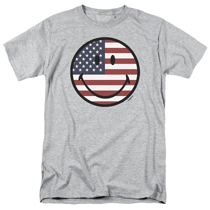 Patriotic American Flag Smiley Face Tshirt