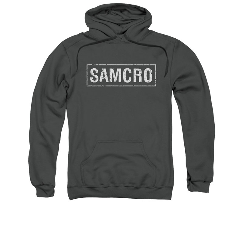 sons of anarchy samcro logo gray pullover hoodie. Black Bedroom Furniture Sets. Home Design Ideas