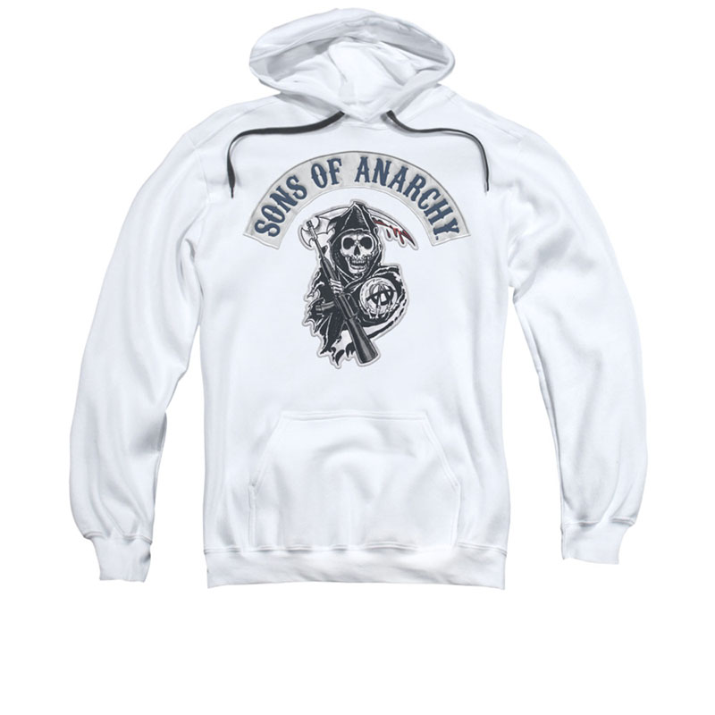 sons of anarchy bloody sickle white pullover hoodie. Black Bedroom Furniture Sets. Home Design Ideas