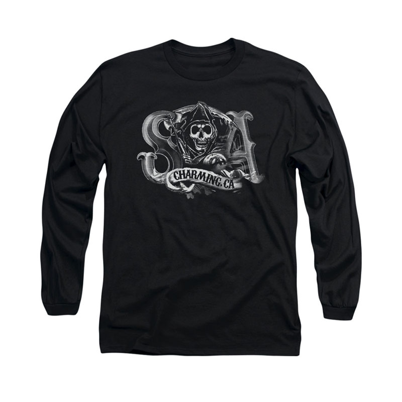 Sons Of Anarchy Charming CA Black Long Sleeve T-Shirt