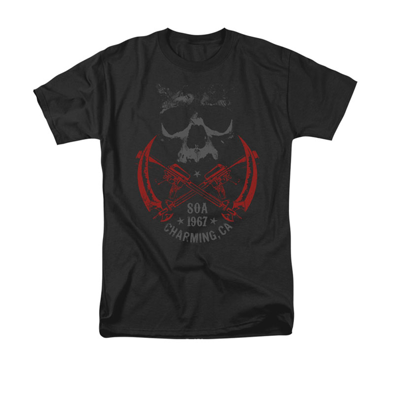 Sons Of Anarchy Men's Black Cross Guns Tee Shirt
