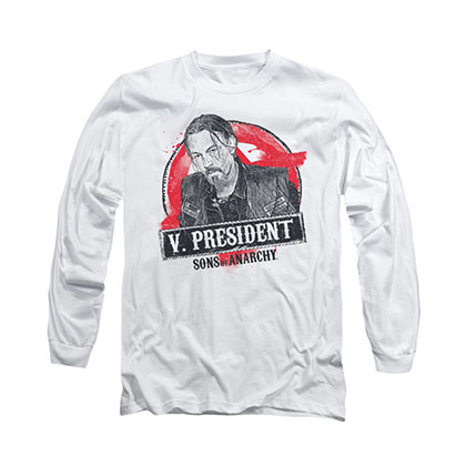 Sons Of Anarchy Vice President White Long Sleeve T-Shirt