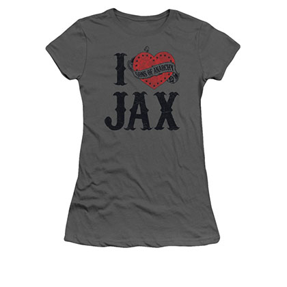 Sons Of Anarchy I Heart Jax Gray Juniors T-Shirt