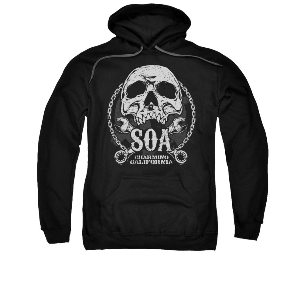 sons of anarchy soa club black pullover hoodie. Black Bedroom Furniture Sets. Home Design Ideas