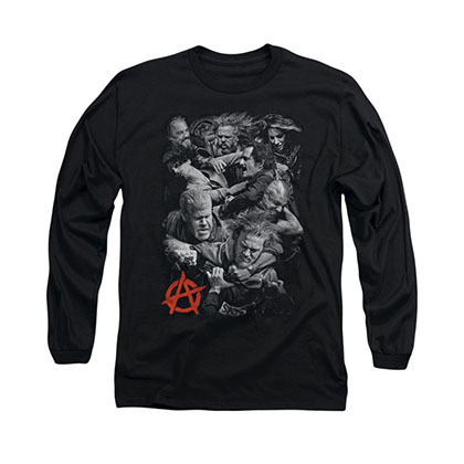 Sons Of Anarchy Group Fight Black Long Sleeve T-Shirt