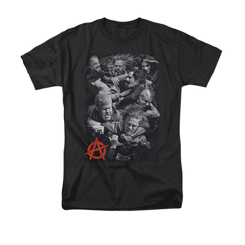 Sons Of Anarchy Group Fight Black Tee Shirt