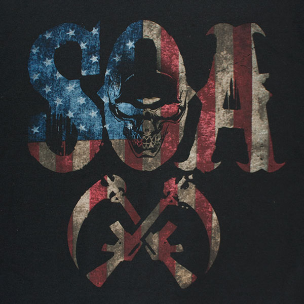 Sons Of Anarchy Men's Black American Flag SOA Logo T-Shirt