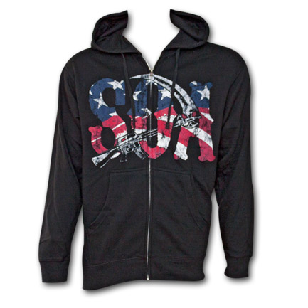 Sons of Anarchy Reaper American Flag Zip-up Hoodie - Black