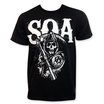 Sons Of Anarchy Black SOA Reaper Logo Men's Tee Shirt