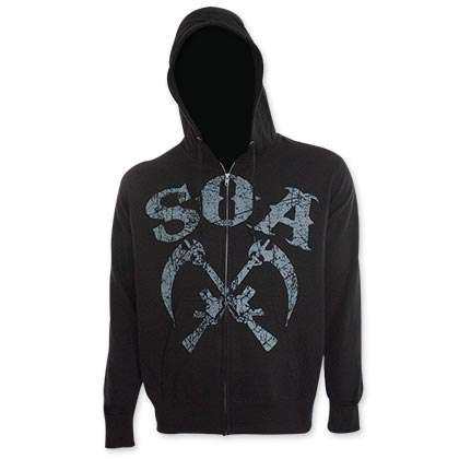 Sons Of Anarchy Gun Sickle Black Hooded Sweatshirt