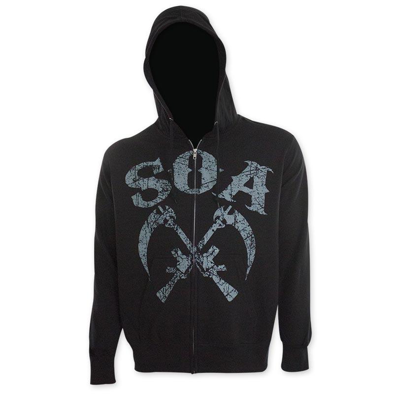 Sons Of Anarchy Gun Sickle Black Hooded Sweatshirt