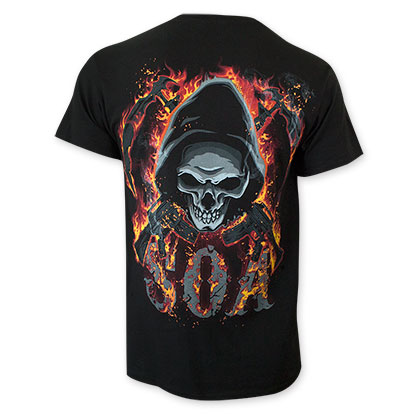 Sons Of Anarchy Men's Black Reaper Skull Flame T-Shirt