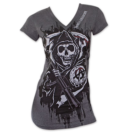 Sons of Anarchy Reaper Crew Logo Women's V-Neck