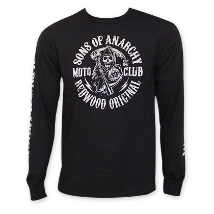 Sons Of Anarchy Long Sleeved Moto Club Reaper Crew Black Shirt
