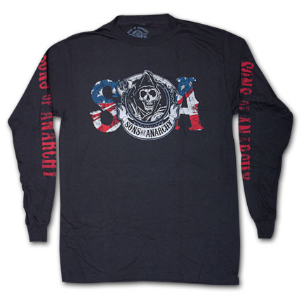 Sons Of Anarchy Reaper USA Flag Black Long Sleeve Graphic T-Shirt