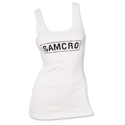 Sons of Anarchy SAMCRO Logo White Women's Ribbed Tank Top