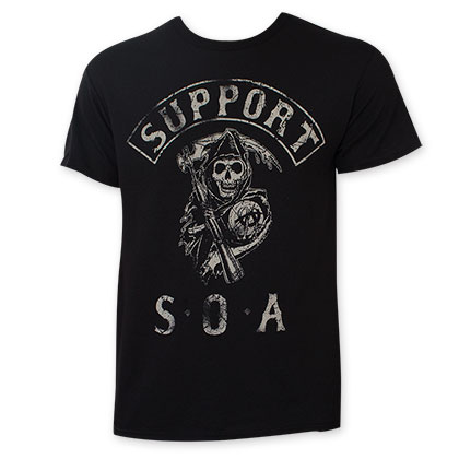 Sons Of Anarchy Men's Black Support T-Shirt