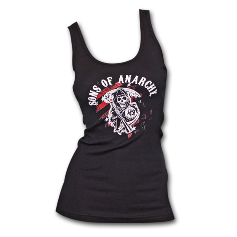 Sons Of Anarchy Black & Red Reaper Crew Women's Ribbed Tank Top