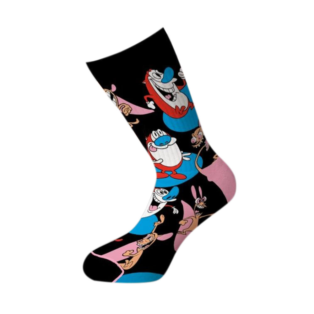 Ren and Stimpy Happy Happy Joy Joy Crew Socks
