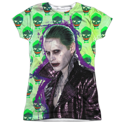 Suicide Squad The Joker Leather Jack Skulls Women's Sublimated Shirt