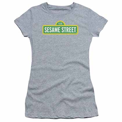 Sesame Street Logo Gray Juniors T-Shirt