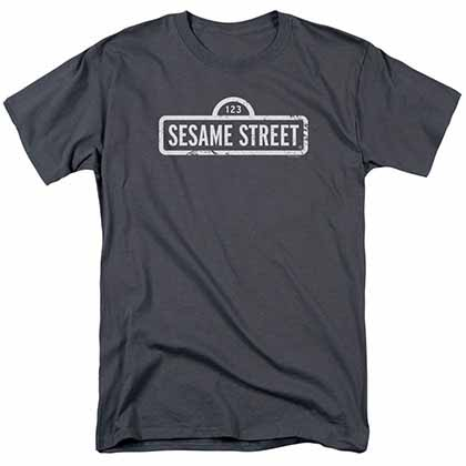 Sesame Street One Color Logo Gray T-Shirt