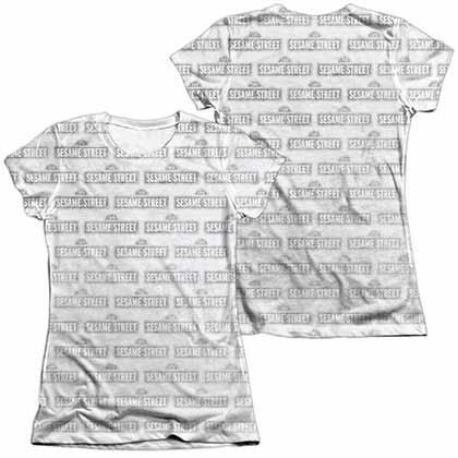 Sesame Street BW Pattern  White 2-Sided Juniors Sublimation T-Shirt