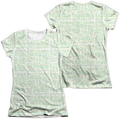 Sesame Street Puzzle Pattern  White 2-Sided Juniors Sublimation T-Shirt