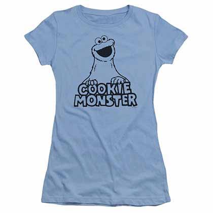 Sesame Street Vintage Cookie Monster Blue Juniors T-Shirt