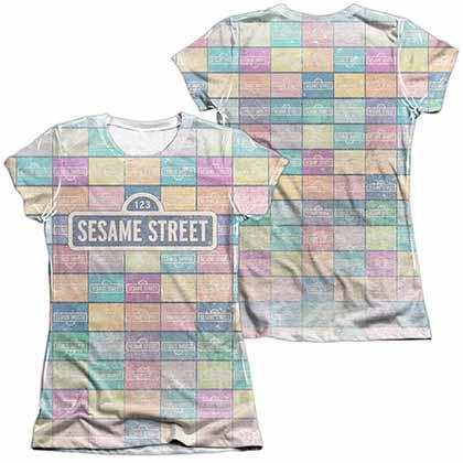 Sesame Street Color Block  White 2-Sided Juniors Sublimation T-Shirt