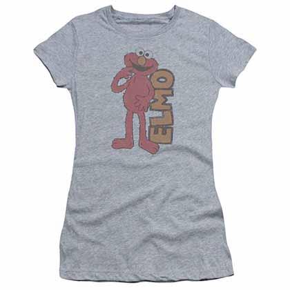Sesame Street Vintage Elmo Gray Juniors T-Shirt