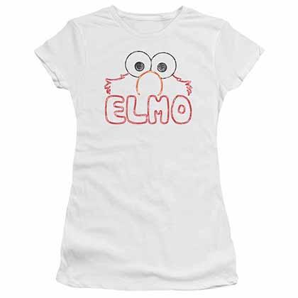 Sesame Street Elmo Letters White Juniors T-Shirt