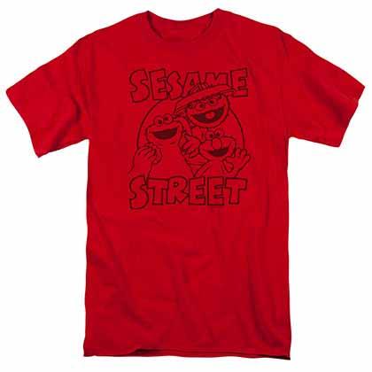 Sesame Street Group Crunch Red T-Shirt