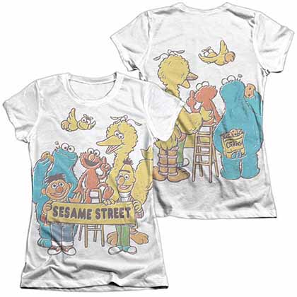 Sesame Street Block Party  White 2-Sided Juniors Sublimation T-Shirt